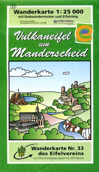 EV-33  Vulkaneifel um Manderscheid | wandelkaart 1:25.000 9783921805701  Eifelverein Wandelkaarten Eifel  Wandelkaarten Eifel