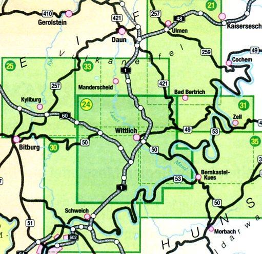 wandelkaart EV-24  Wittlicher Land 1:25.000 9783921805831  Eifelverein Wandelkaarten Eifel  Wandelkaarten Eifel