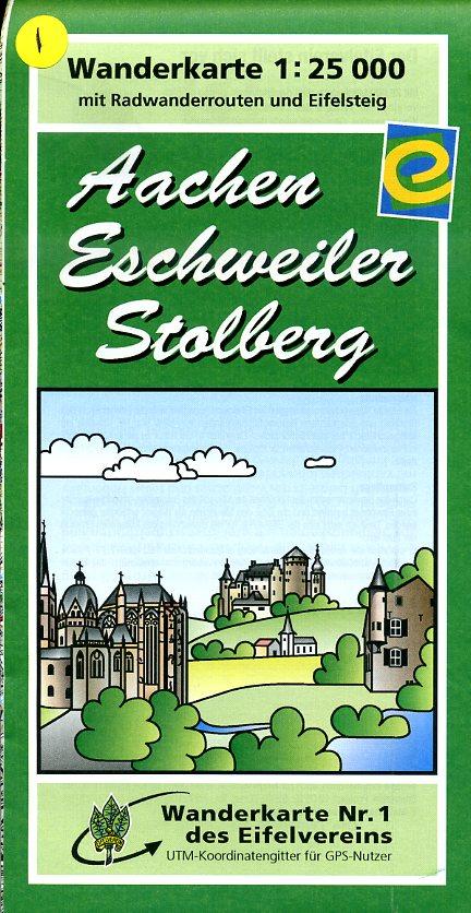 EV-01  Aachen - Eschweiler - Stolberg | wandelkaart 1:25.000 9783921805947  Eifelverein Wandelkaarten Eifel  Wandelkaarten Aken, Keulen en Bonn