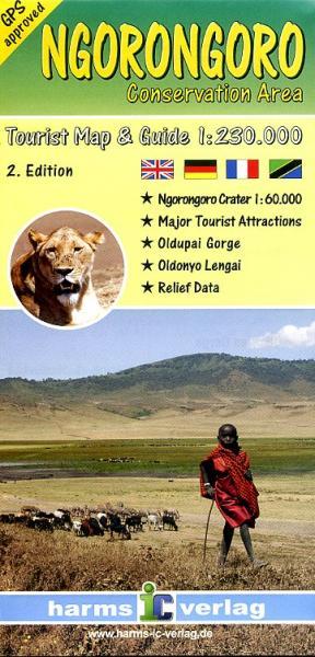 Ngorongoro Conservation Area 1:230.000/60.000 9783927468283  Harms   Landkaarten en wegenkaarten, Wandelkaarten Tanzania, Zanzibar
