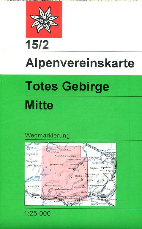 AV-15/2 Totes Gebirge  Mittleres Blatt [2016] Alpenvereinskarte wandelkaart 9783928777315  AlpenVerein Alpenvereinskarten  Wandelkaarten Salzburg, Karinthië, Tauern, Stiermarken