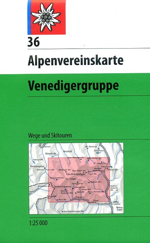 AV-36  Venedigergruppe [2014] Alpenvereinskarte wandelkaart 9783928777490  AlpenVerein Alpenvereinskarten  Wandelkaarten Salzburg, Karinthië, Tauern, Stiermarken