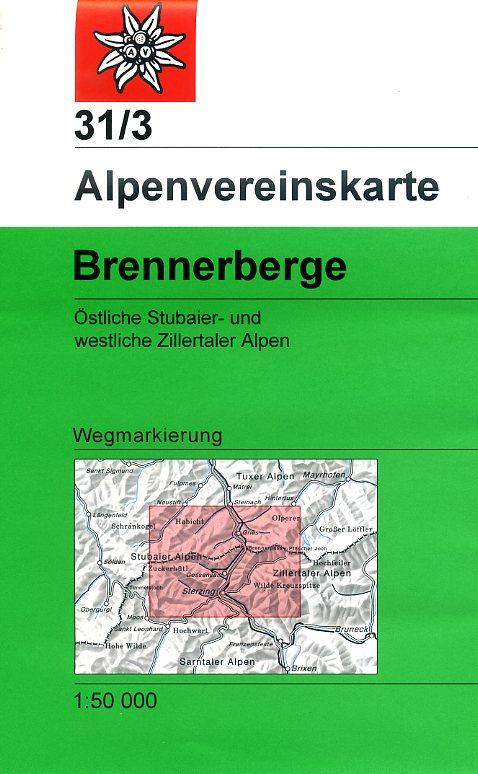 AV-31/3  Brennerberge [2018] Alpenvereinskarte wandelkaart 9783928777513  AlpenVerein Alpenvereinskarten  Wandelkaarten Tirol & Vorarlberg