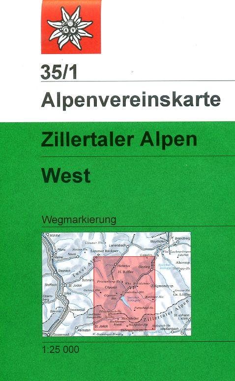 AV-35/1 Zillertaler Alpen/West [2013] Alpenvereinskarte wandelkaart 9783928777582  AlpenVerein Alpenvereinskarten  Wandelkaarten Tirol & Vorarlberg