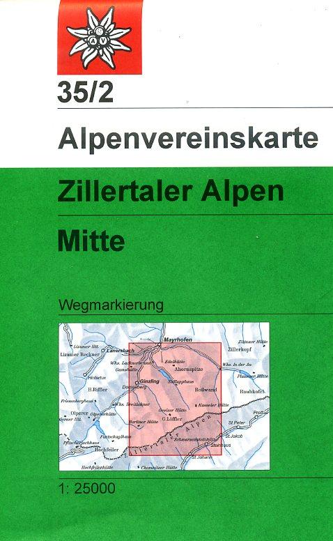 AV-35/2 Zillertaler Alpen/Mitte [2014] Alpenvereinskarte wandelkaart 9783928777599  AlpenVerein Alpenvereinskarten  Wandelkaarten Tirol & Vorarlberg
