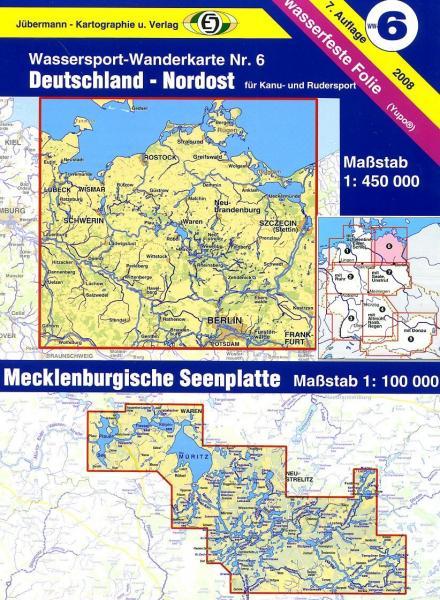 Teil 6  Deutschland Nordost 1:450.000 9783929540161  DKV/Jübermann Wassersp. 1:550.000  Watersportboeken Mecklenburg-Vorpommern