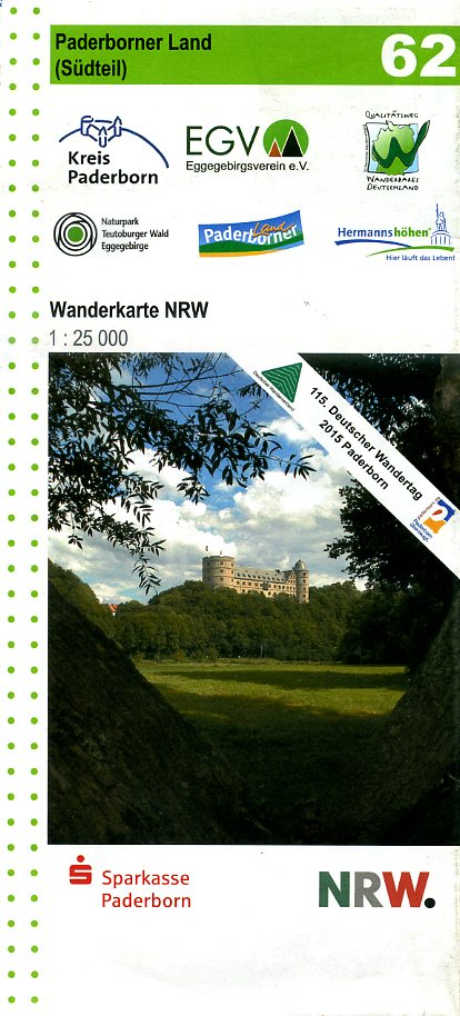 NRW-62  Paderborner Land  Südteil | wandelkaart 1:25.000 9783936184778 Eggegebirgsverein Geomap / LVA NRW Grüne Reihe  Wandelkaarten Teutoburger Woud & Ostwestfalen