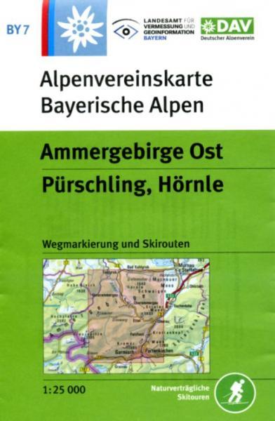 BY-07 Ammergebirge-Ost, Pürschling,Hörnle 1:25.000 Alpenvereinskarte 9783937530314  Deutscher AlpenVerein Alpenvereinskarten  Wandelkaarten Beierse Alpen