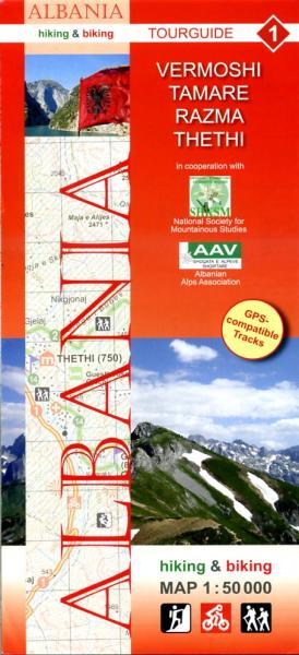 HA-01  Vermoshi, Tamare, Razma, Thethi | wandelkaart 9783943752083  Huber Verlag Albanië 1:50.000  Wandelkaarten Albanië