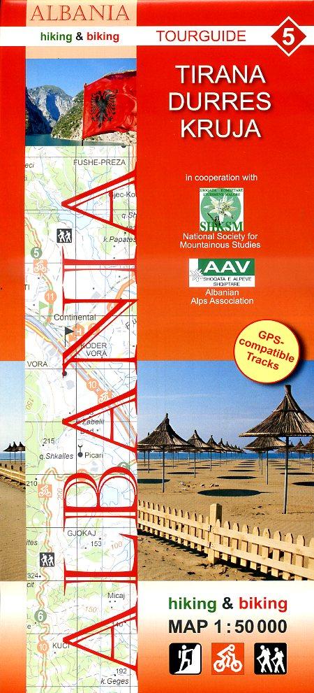 HA-05  Tirana Durrës Kruja | wandelkaart 9783943752113  Huber Verlag Albanië 1:50.000  Wandelkaarten Albanië
