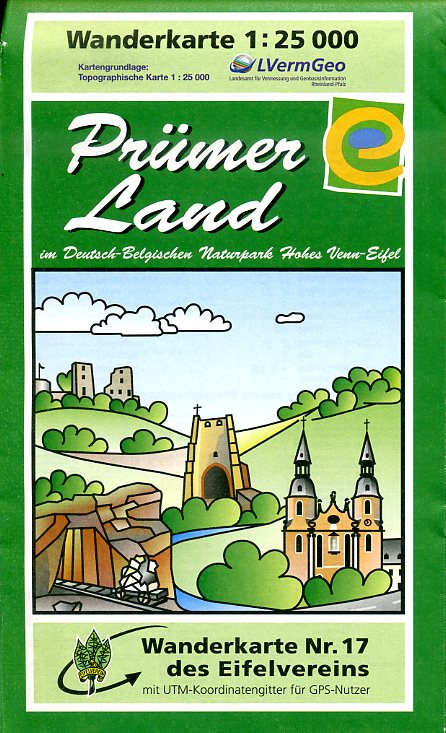 EV-17  Prümerland | wandelkaart 1:25.000 9783944620008  Eifelverein Wandelkaarten Eifel  Wandelkaarten Eifel