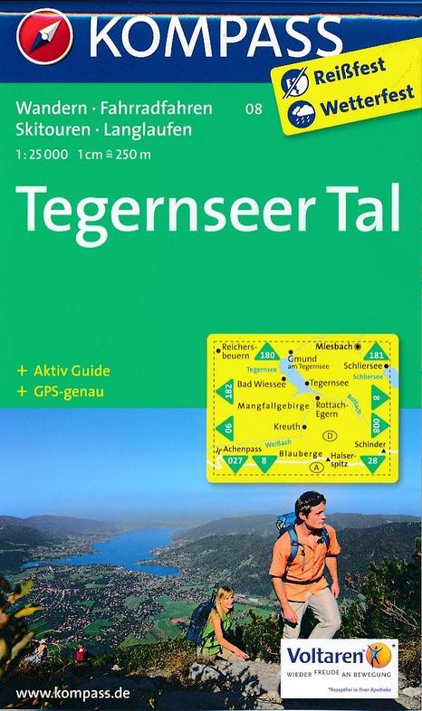 KP-08 Tegernseer Tal | Kompass wandelkaart 9783990440728  Kompass Wandelkaarten Kompass Duitsland  Wandelkaarten Beierse Alpen
