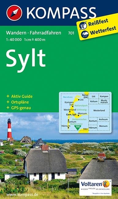 KP-701 Sylt | Kompass wandelkaart 9783990440780  Kompass Wandelkaarten Kompass Duitsland  Wandelkaarten Sleeswijk-Holstein
