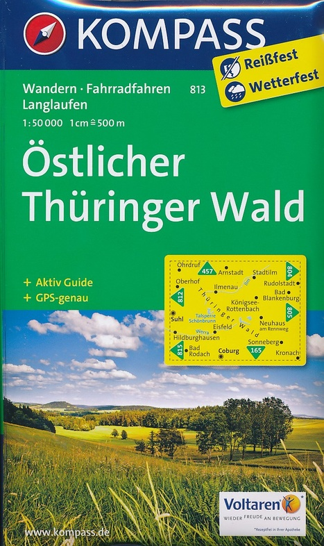KP-813 Östlicher Thüringer Wald | Kompass wandelkaart 1:50.000 * 9783990441312  Kompass Wandelkaarten Kompass Duitsland  Wandelkaarten Thüringen, Weimar, Rennsteig