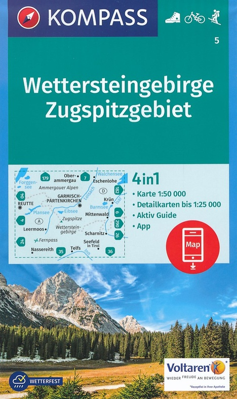 KP-5 Wettersteingebirge, Zugspitze   Kompass wandelkaart 9783990442579  Kompass Wandelkaarten Kompass Duitsland  Wandelkaarten Beierse Alpen