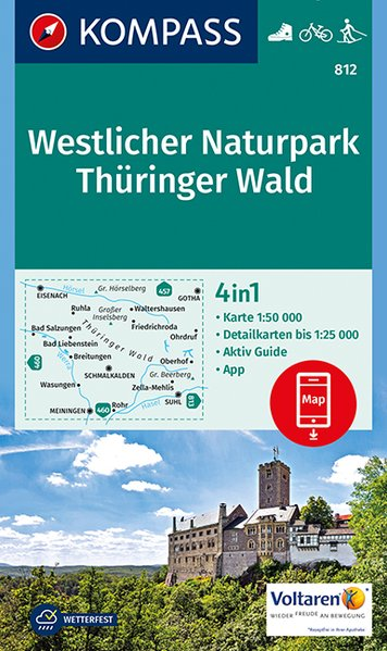 KP-812  Thüringer Wald West 1:50.000 | Kompass wandelkaart * 9783990442609  Kompass Wandelkaarten Kompass Duitsland  Wandelkaarten Thüringen, Weimar, Rennsteig