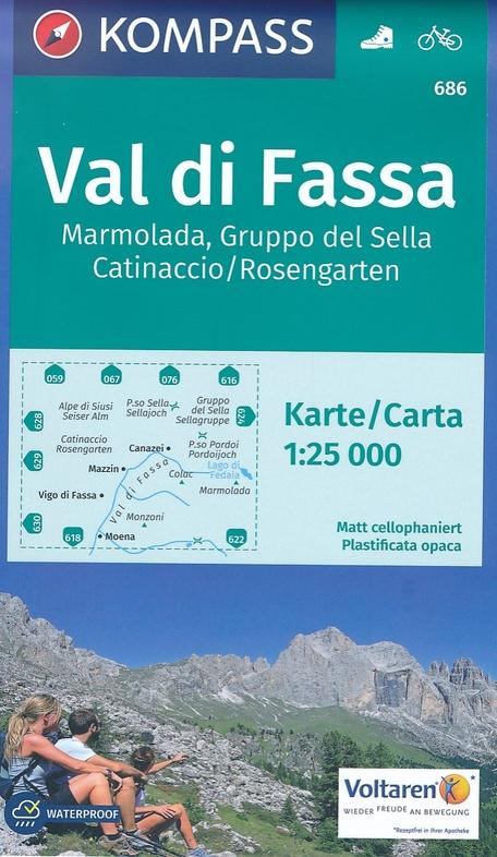 KP-686 Val di Fassa/Sella e Marmolada 1:35.000 | Kompass wandelkaart 9783990442692  Kompass Wandelkaarten Kompass Italië  Wandelkaarten Zuid-Tirol, Dolomieten