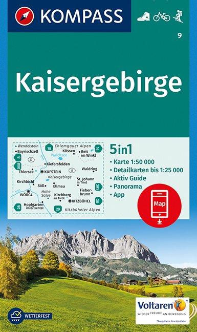 KP-9 Kaisergebirge | Kompass 9783990442791  Kompass Wandelkaarten Kompass Oostenrijk  Wandelkaarten Tirol & Vorarlberg