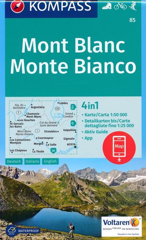KP-85 Mont Blanc/Monte Bianco 1:50.000 | Kompass wandelkaart 9783990442937  Kompass Wandelkaarten Kompass Italië  Wandelkaarten Aosta, Gran Paradiso