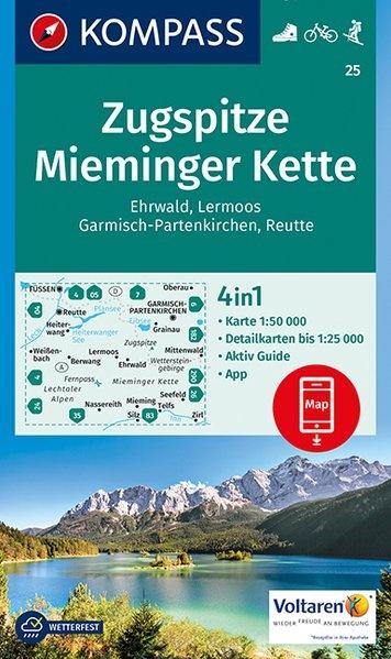 KP-25   Zugspitze, Miemingerkette | Kompass wandelkaart 9783990443101  Kompass Wandelkaarten Kompass Oostenrijk  Wandelkaarten Tirol & Vorarlberg