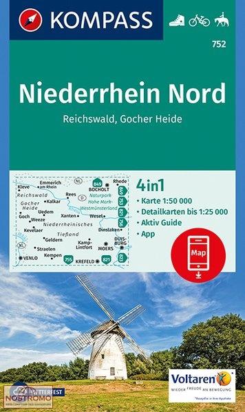 KP-752 Niederrhein Nord 1:50.000 | Kompass wandelkaart 9783990443163  Kompass Wandelkaarten Kompass Duitsland  Lopen naar Rome, Wandelkaarten Niederrhein