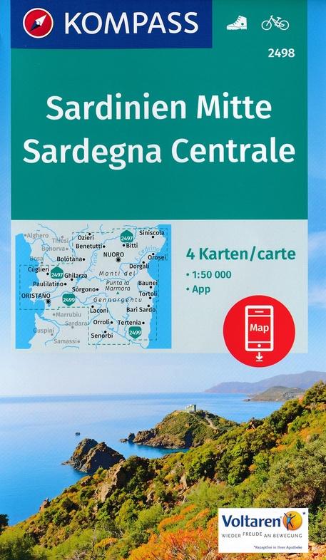 KP-2498 Sardinië, midden 1:50.000 (set van 4 kaarten) | Kompass wandelkaart 9783990443224  Kompass Wandelkaarten Kompass Italië  Fietskaarten, Wandelkaarten Sardinië