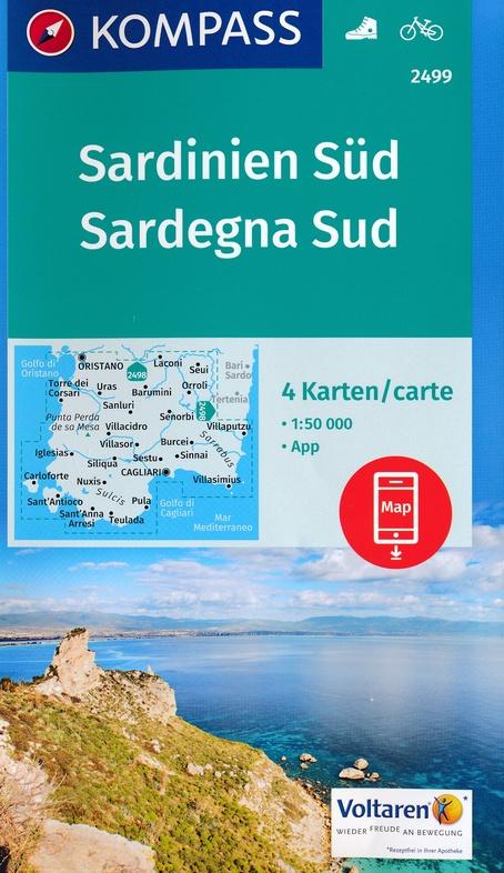 KP-2499 Sardinië, zuid  1:50.000 (set van 4 kaarten) | Kompass wandelkaart 9783990443231  Kompass Wandelkaarten Kompass Italië  Fietskaarten, Wandelkaarten Sardinië