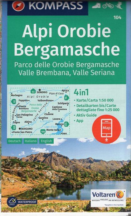 KP-104  Alpi Orobie Bergamasche | Kompass wandelkaart 9783990443293  Kompass Wandelkaarten Kompass Italië  Wandelkaarten Milaan, Lombardije, Italiaanse Meren