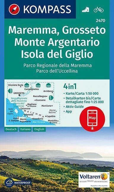KP-2470 Maremma, Argentario 1:50.000 | Kompass wandelkaart 9783990443309  Kompass Wandelkaarten Kompass Italië  Wandelkaarten Toscane, Florence