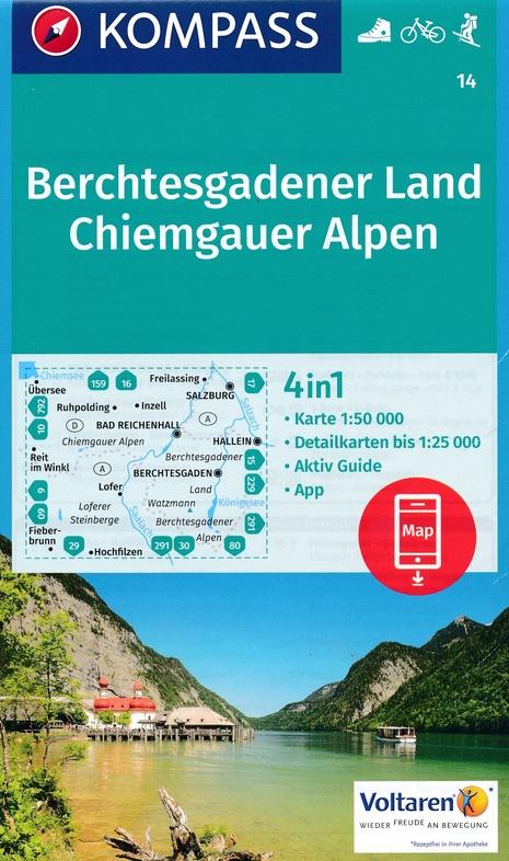 KP-14  Berchtesgadener Land Chiemgau   Kompass wandelkaart 9783990443354  Kompass Wandelkaarten Kompass Duitsland  Wandelkaarten Beierse Alpen
