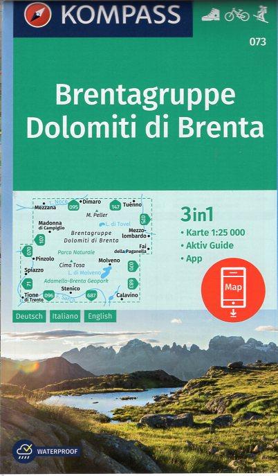 KP-073 Dolomiti di Brenta | Kompass wandelkaart 9783990443866  Kompass Wandelkaarten Kompass Italië  Wandelkaarten Zuid-Tirol, Dolomieten