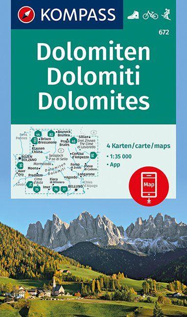 KP-672  Dolomiten 1:35.000 | Kompass wandelkaart 9783990443910  Kompass Wandelkaarten Kompass Italië  Wandelkaarten Zuid-Tirol, Dolomieten