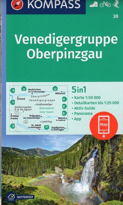 KP-38 Venedigergruppe-Oberpinzgau   Kompass wandelkaart 9783990443989  Kompass Wandelkaarten Kompass Oostenrijk  Wandelkaarten Salzburg, Karinthië, Tauern, Stiermarken