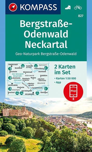 KP-827  Bergstrasse-Odenwald Neckartal | Kompass 9783990444207  Kompass Wandelkaarten Kompass Duitsland  Wandelkaarten München en omgeving, Odenwald, Spessart en Rhön
