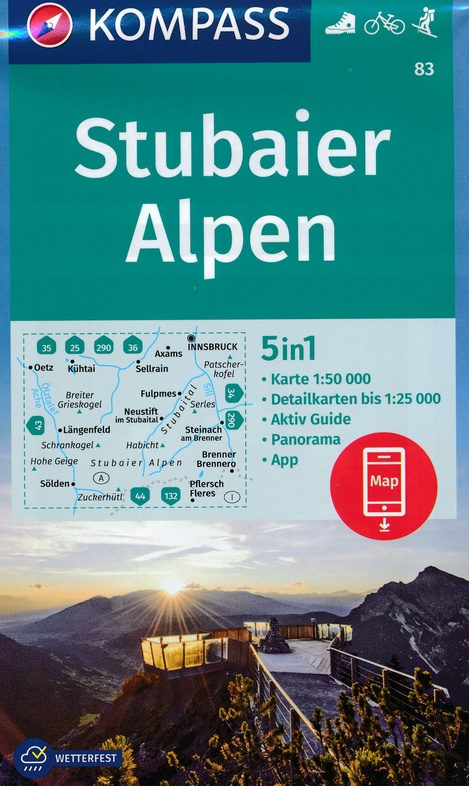KP-83  Stubaier Alpen - Serleskamm | Kompass 9783990444276  Kompass Wandelkaarten Kompass Oostenrijk  Wandelkaarten Tirol & Vorarlberg