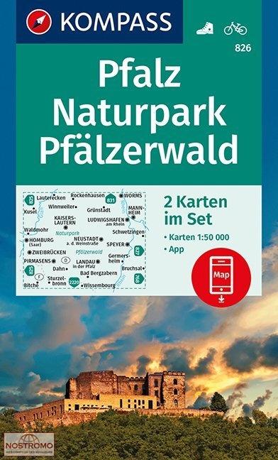 KP-826  Pfalz Naturpark Pfälzerwald | Kompass 9783990444306  Kompass Wandelkaarten Kompass Duitsland  Wandelkaarten Pfalz, Deutsche Weinstrasse, Rheinhessen