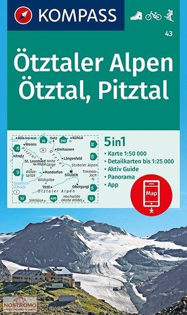 KP-43  Ötztaler Alpen | Kompass wandelkaart 9783990444405  Kompass Wandelkaarten Kompass Oostenrijk  Wandelkaarten Tirol & Vorarlberg