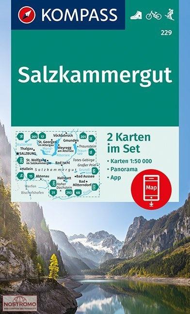 KP-229 Salzkammergut, 2 kaarten 1:50.000 | Kompass wandelkaart 9783990444412  Kompass Wandelkaarten Kompass Oostenrijk  Wandelkaarten Salzburg, Karinthië, Tauern, Stiermarken