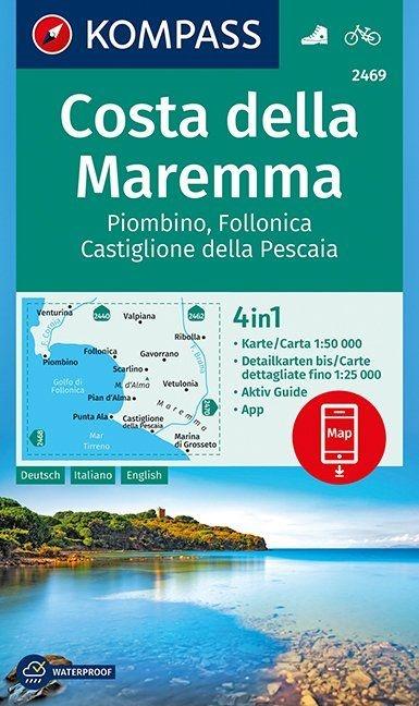 KP-2469  Costa della Maremma 1:50.000 | Kompass wandelkaart 9783990444474  Kompass Wandelkaarten Kompass Italië  Wandelkaarten Toscane, Florence