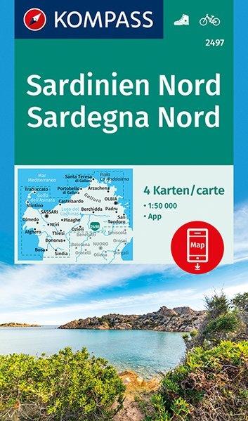 KP-2497 Sardinië, noord  1:50.000 (set van 4 kaarten) | Kompass wandelkaart 9783990444733  Kompass Wandelkaarten Kompass Italië  Fietskaarten, Wandelkaarten Sardinië