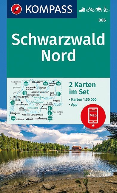KP-886 Schwarzwald Nord | Kompass wandelkaart 1:50.000 9783990444801  Kompass Wandelkaarten Kompass Duitsland  Wandelkaarten Zwarte Woud