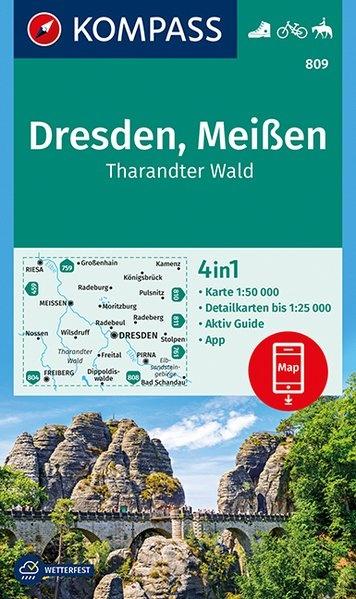 KP-809 Dresden/Meissen | Kompass wandelkaart 9783990444887  Kompass Wandelkaarten Kompass Duitsland  Wandelkaarten Erzgebirge, Elbsandsteingebirge, Lausitz