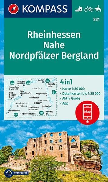 KP-831 Rheinhessen, Nahe, Nordpfälzer Bergland | Kompass 9783990444894  Kompass Wandelkaarten Kompass Duitsland  Wandelkaarten Pfalz, Deutsche Weinstrasse, Rheinhessen