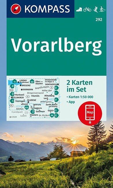 KP-292  Vorarlberg | Kompass wandelkaart 1:50.000 9783990444948  Kompass Wandelkaarten Kompass Oostenrijk  Wandelkaarten Tirol & Vorarlberg