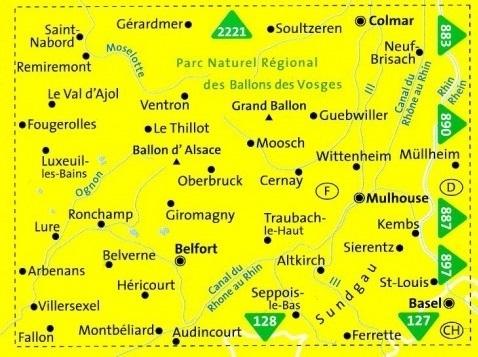 KP-2222  Vogezen Zuid (Vogesen-Süd) 1:50.000 | Kompass wandelkaart 9783990444986  Kompass Wandelkaarten   Lopen naar Rome, Wandelkaarten Vogezen