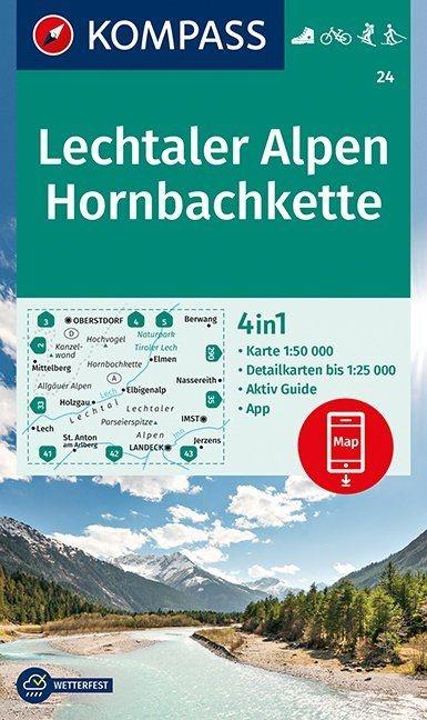 KP-24 Lechtaler Alpen-Hornbachkette | Kompass wandelkaart 9783990445013  Kompass Wandelkaarten Kompass Oostenrijk  Wandelkaarten Tirol & Vorarlberg