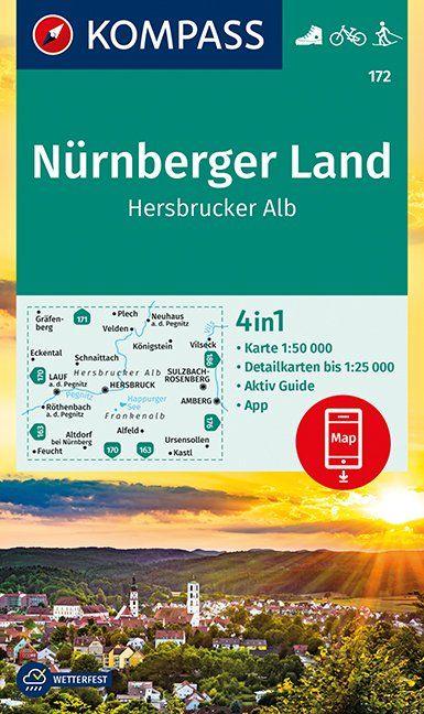 KP-172 Nürnberger Land | Hersbrucker Alb 9783990445426  Kompass Wandelkaarten Kompass Duitsland  Wandelkaarten Franken, Nürnberg, Altmühltal