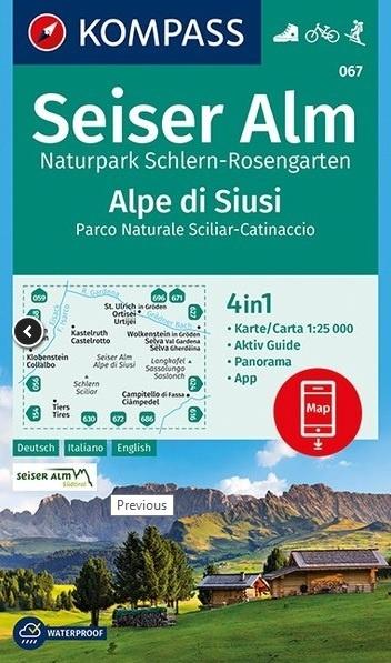 KP-067  Seiser Alm / Alpe di Siusi 1:25.000 9783990445488  Kompass Wandelkaarten Kompass Italië  Wandelkaarten Zuid-Tirol, Dolomieten