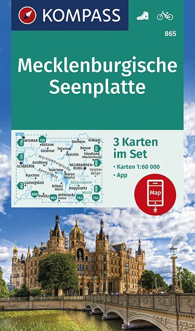 KP-865 Mecklenburgische seenplatte 1:50.000 (set v 3 ktn.) 9783990445495  Kompass Wandelkaarten Kompass Duitsland  Wandelkaarten Mecklenburg-Vorpommern