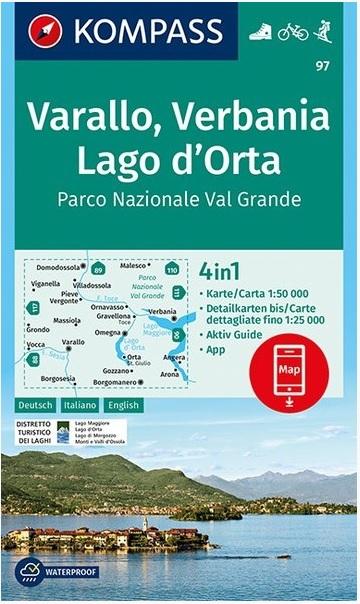 KP-97 Varallo, Lago d'Orta | Kompass wandelkaart 9783990445525  Kompass Wandelkaarten Kompass Italië  Wandelkaarten Turijn, Piemonte